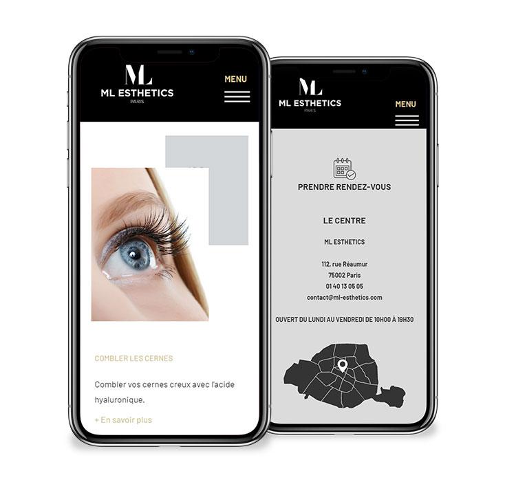 ML Estehtics site web agence communication santé nice paris karma santé
