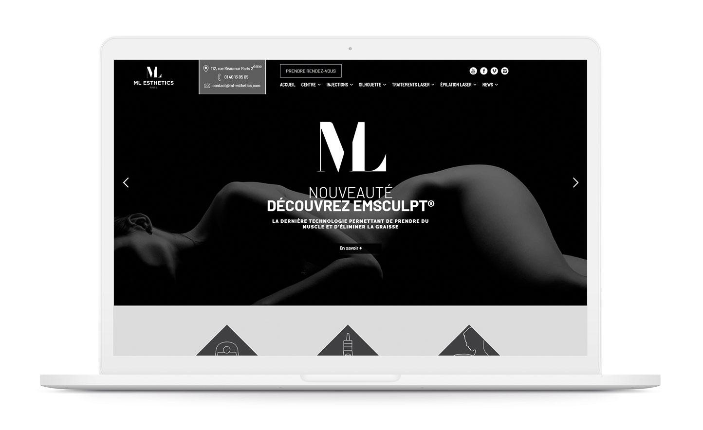 ML Esthetics Paris site web agence de communication santé nice paris