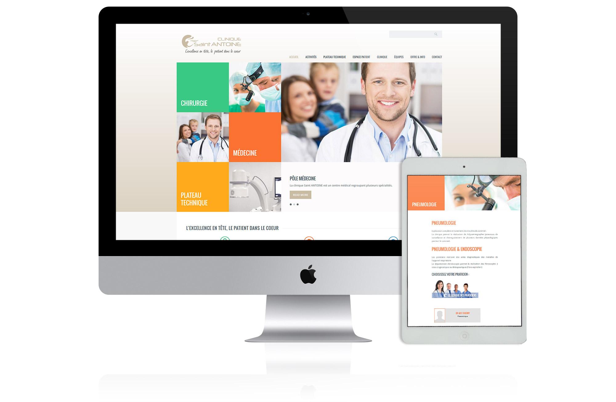 création de site web pour clinique nice et paris